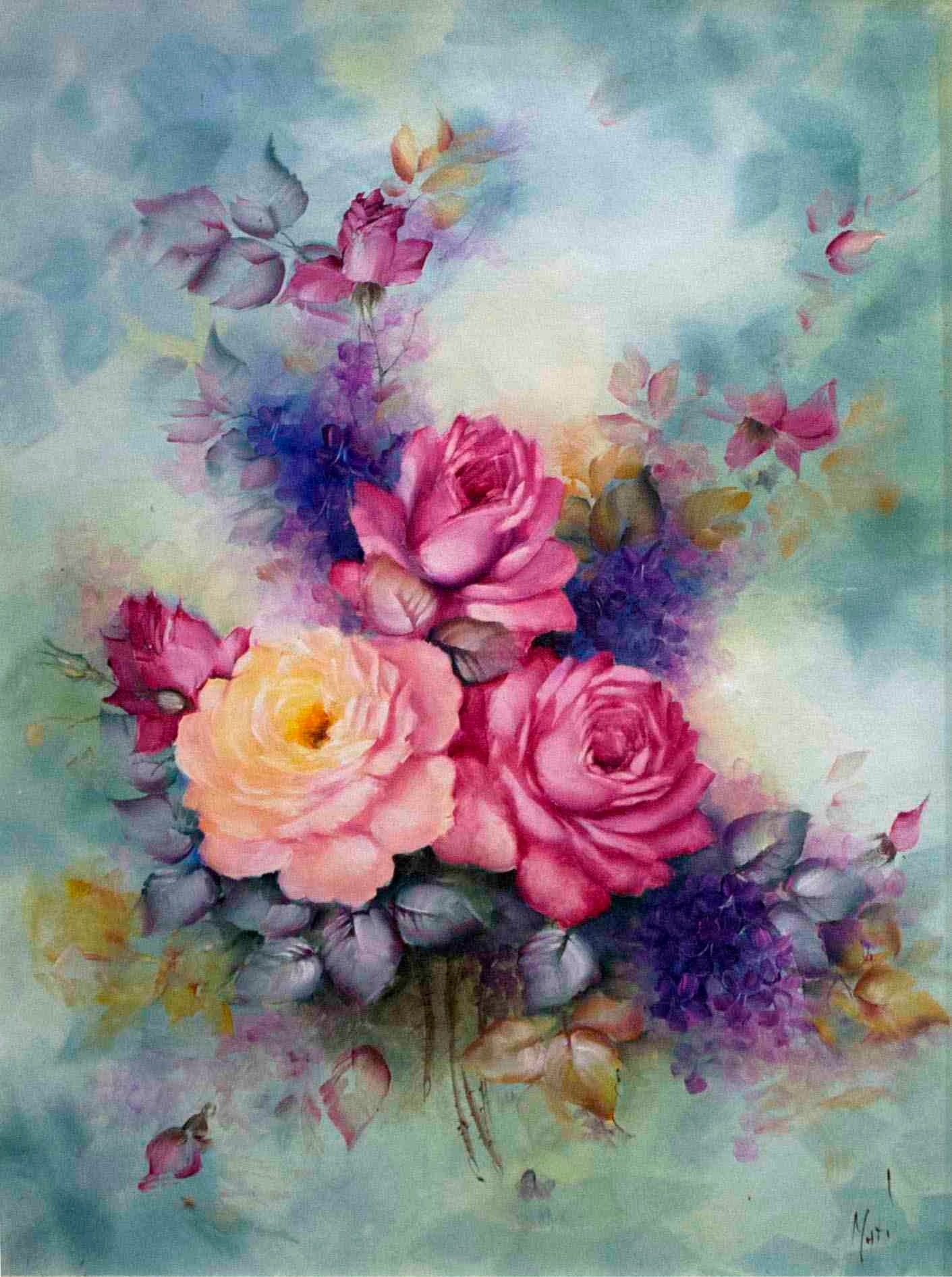 35 awesome flowers painting free premium creatives for Pretty flower paintings