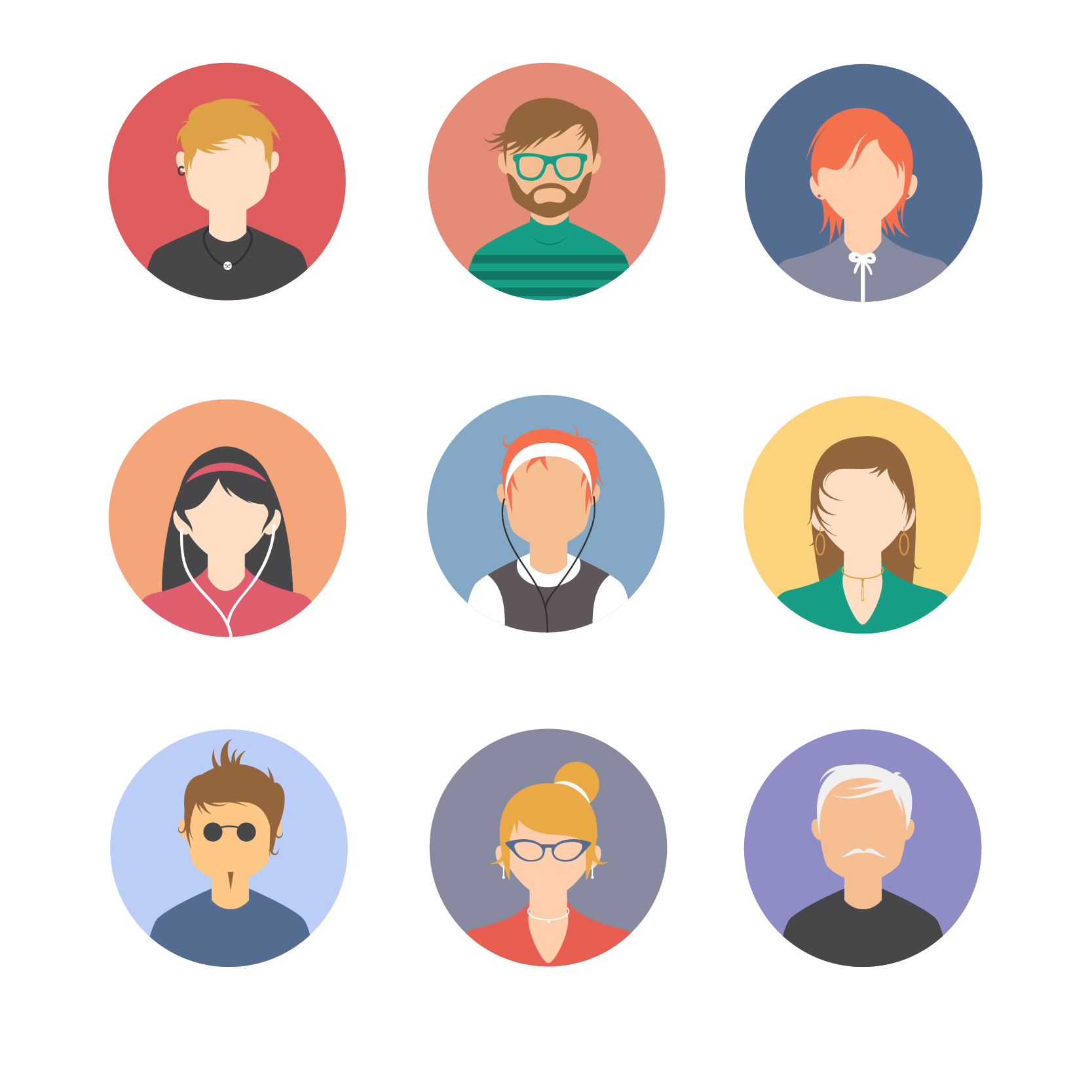 30 Free Download Vector Psd People Avatars Set Free