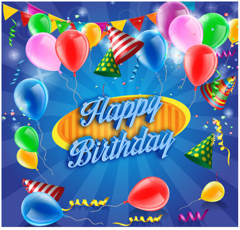 Free vector psd birthday celebration greeting cards