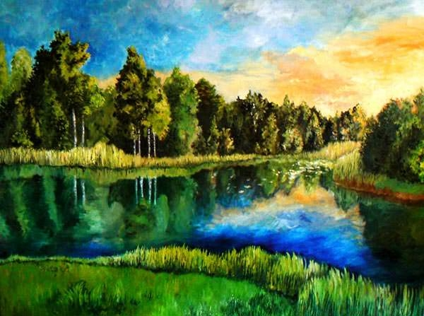 landscape painting paintings nature awesome greenery autumn