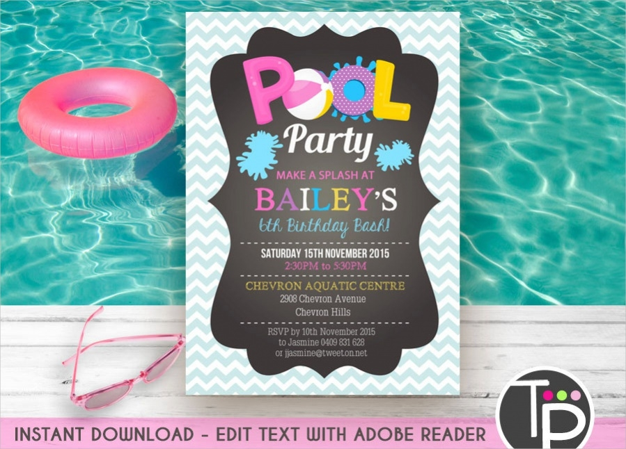 Free pool party invitations for adults