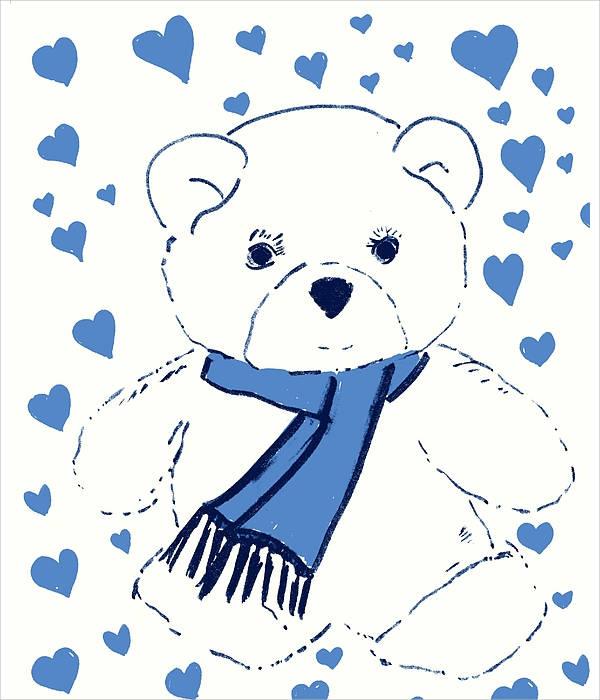 Drawings of love teddy bears