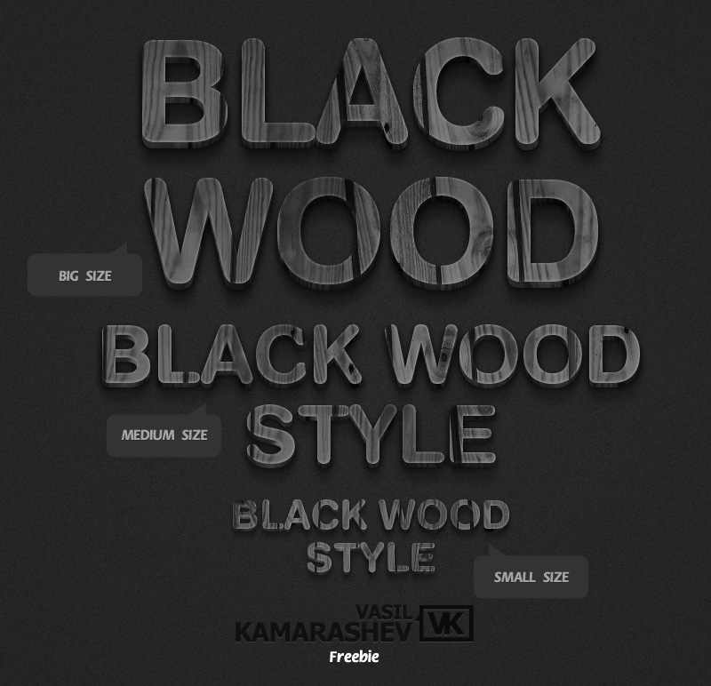 3D Black Wood Style