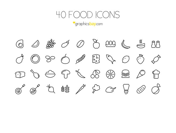 40 Food icons