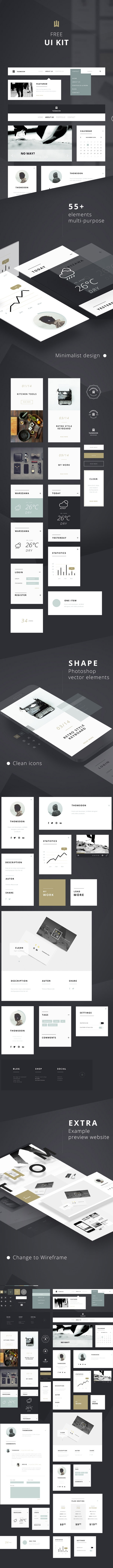 55+ free UI elements – PSD