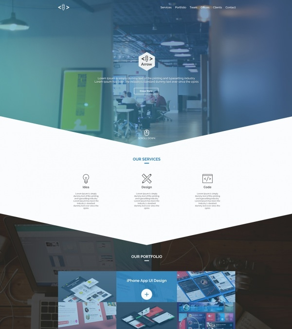 Arrow – Free One Page Business Portfolio PSD Template