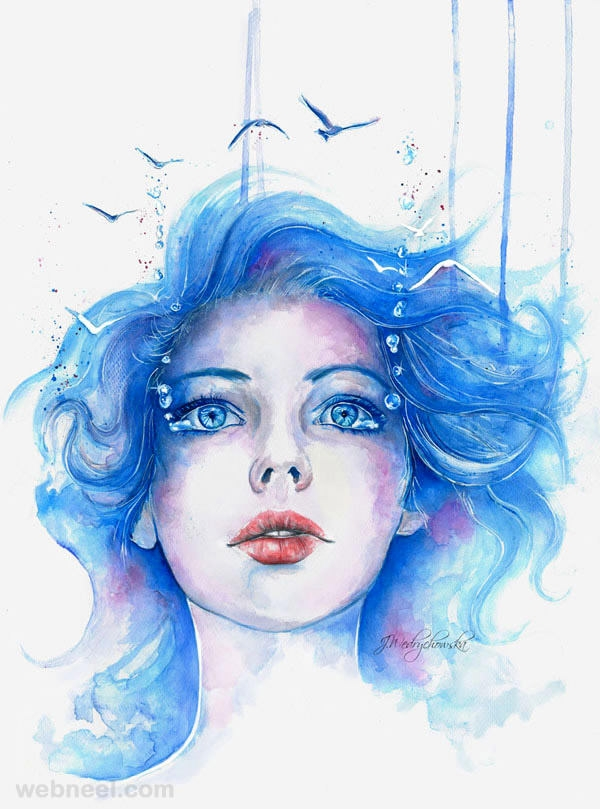 Awesome Water Colour Painting of a Girl