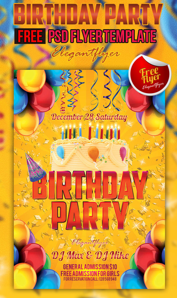 Birthday Party Free Club and Party Flyer PSD Template