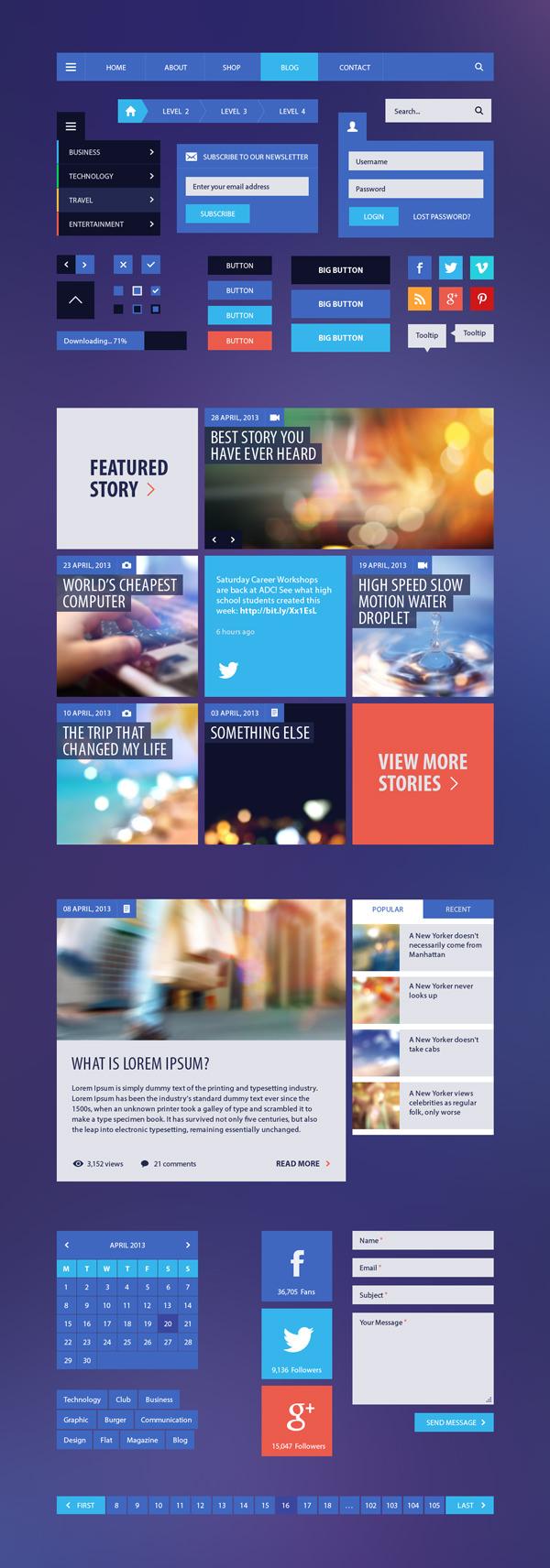 Blog & Magazine Flat UI Kit