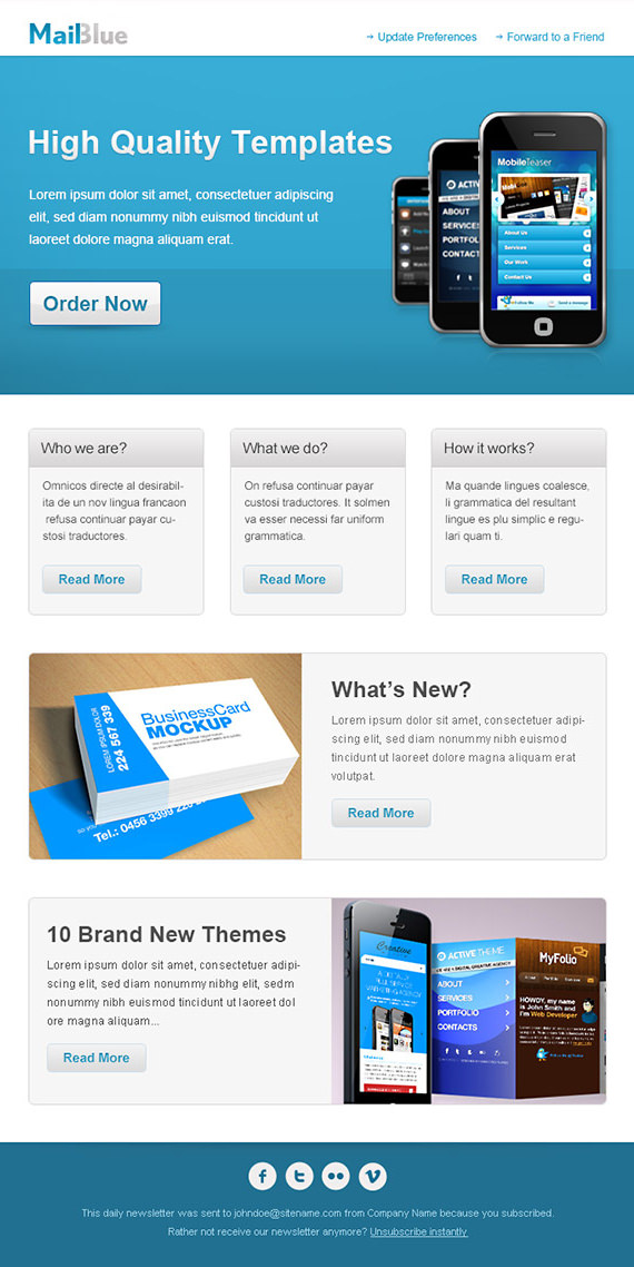 Business Email Newsletter Template – HTML and PSD