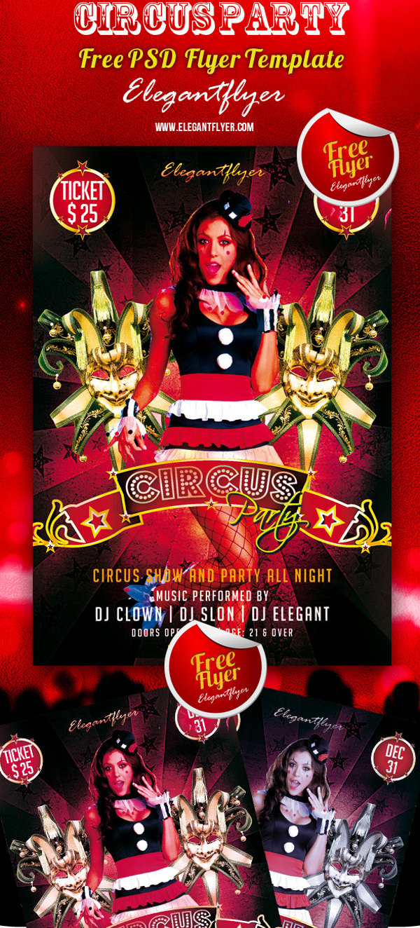 Circus Party Club and Party Free Flyer PSD Template