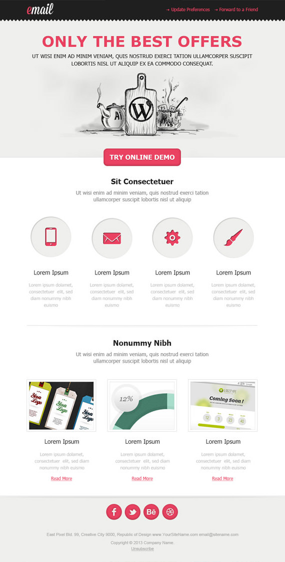 Clean Email Newsletter Template – HTML and PSD