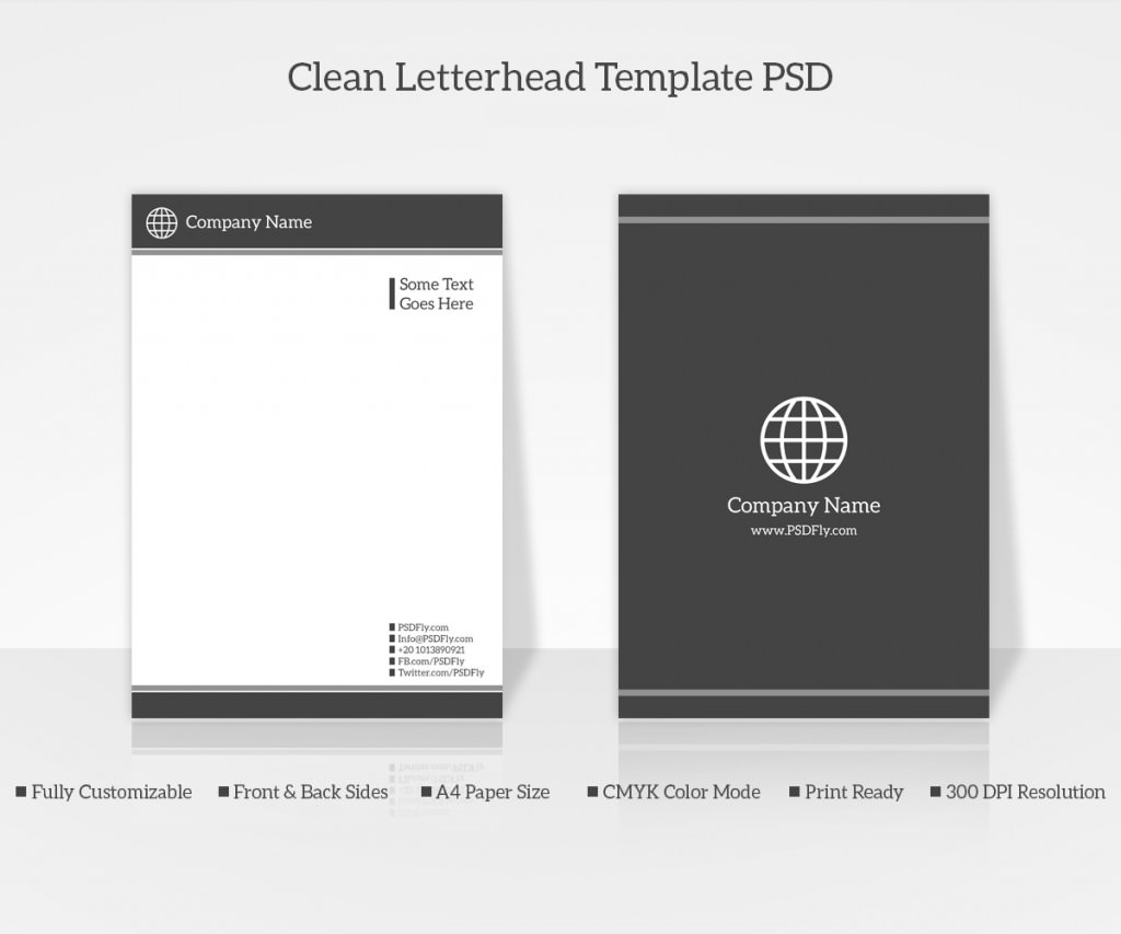 Clean Letterhead Template PSD Preview1