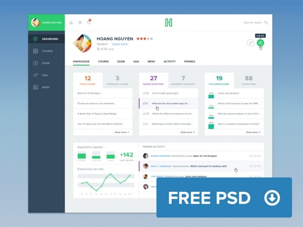 Course Dashboard UI Design Template