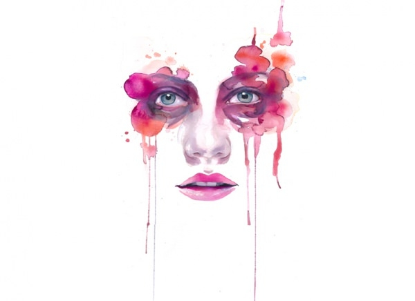 Cute Lady Face Water Colour Art