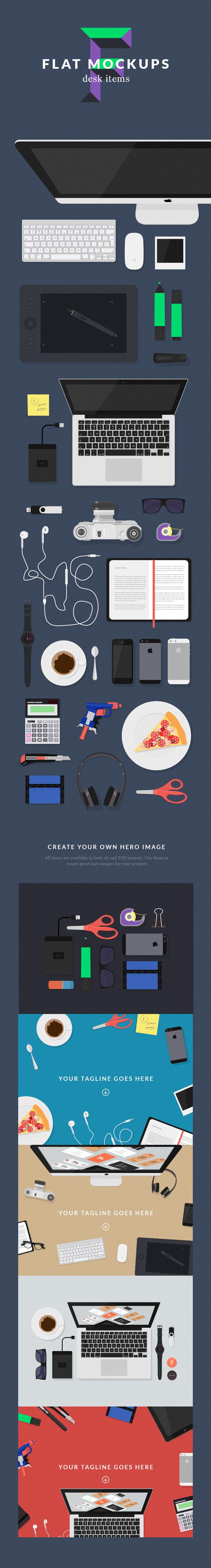 Free Flat PSD MockUps – Designer Desk Items
