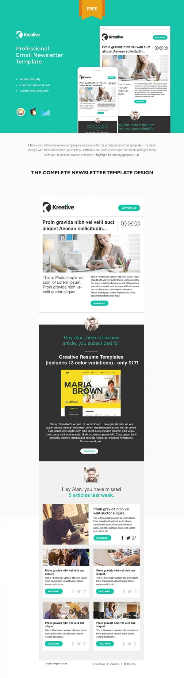 Flat Style Email Newsletter Free Download  Business Newsletter Templates Free Download
