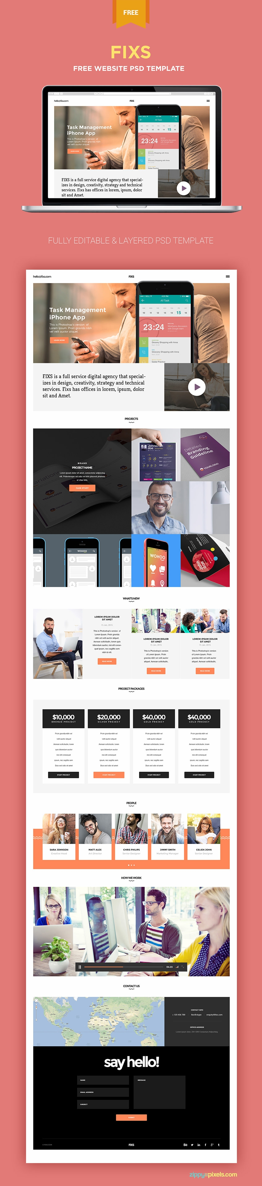Free Elegant Single Page Website Template in PSD Format