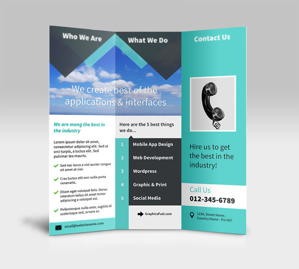 Free Open 3 Panel Tri-Fold Standing Brochure