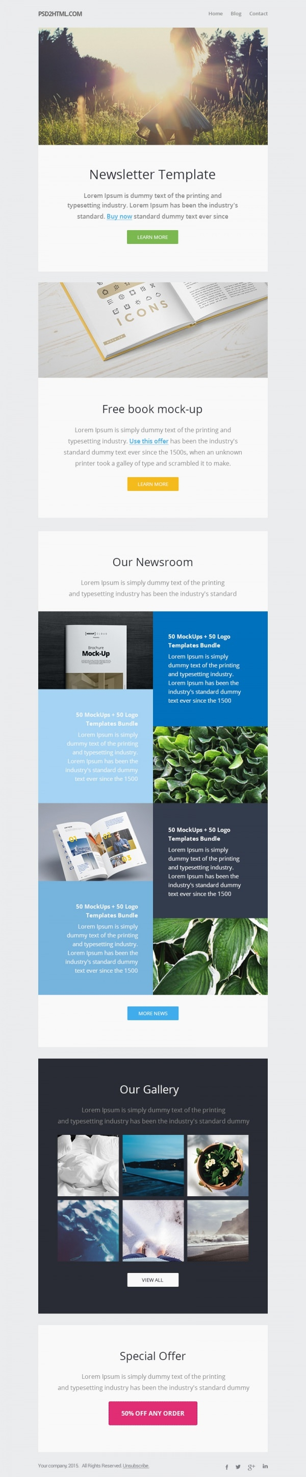 Free Psd Newsletter Template Design