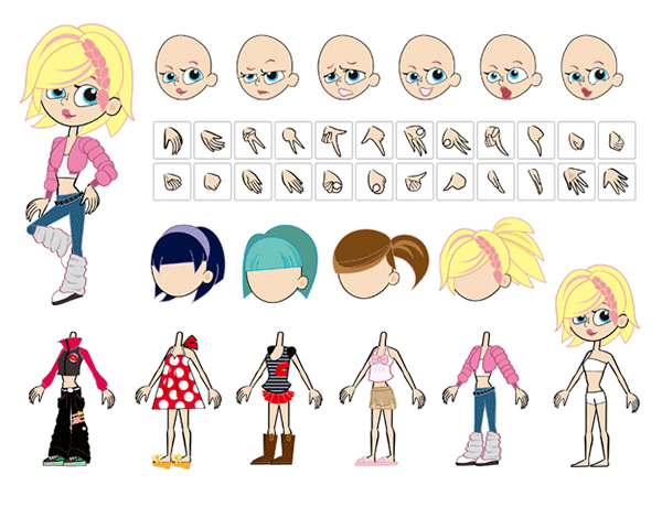 Free-Vector-Cute-Cartoon-Girl-Characters