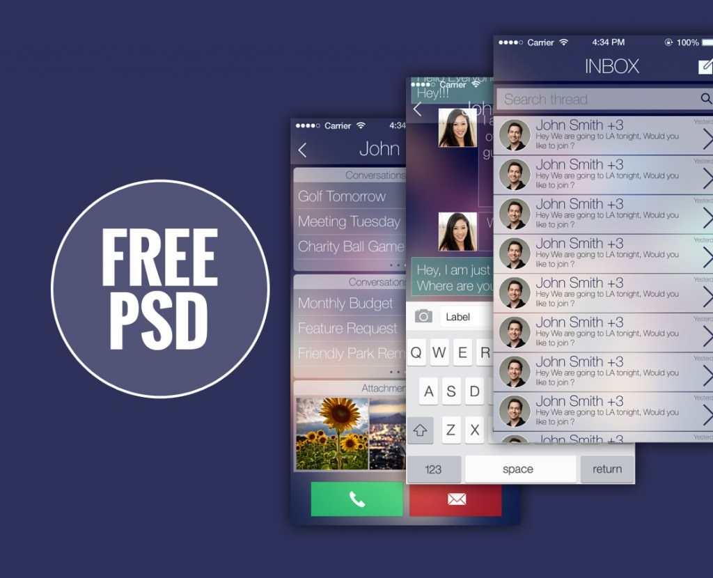 IOS Chat App UI Kit PSD
