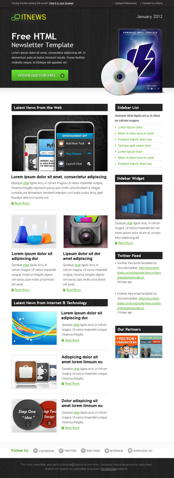 IT News Email Newsletter Template – HTML and PSD