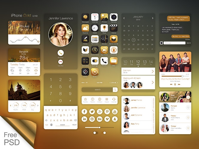 Iphone-Gold-Ui-Kit-+Free-PSD