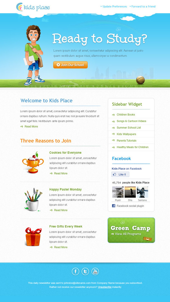 Kids Email Newsletter Template – HTML and PSD