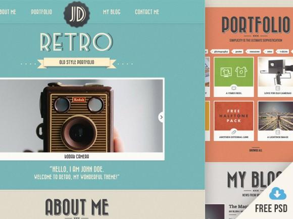 New Retro Portfolio Free PSD