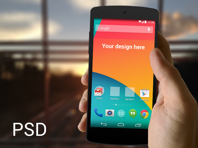 Nexus 5 in Hand PSD Mockup Template