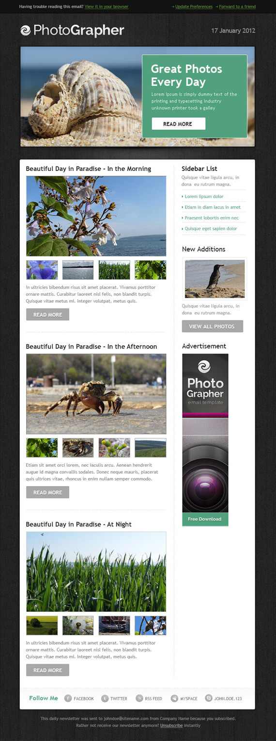 Photographer Email Newsletter Template – HTML and PSD