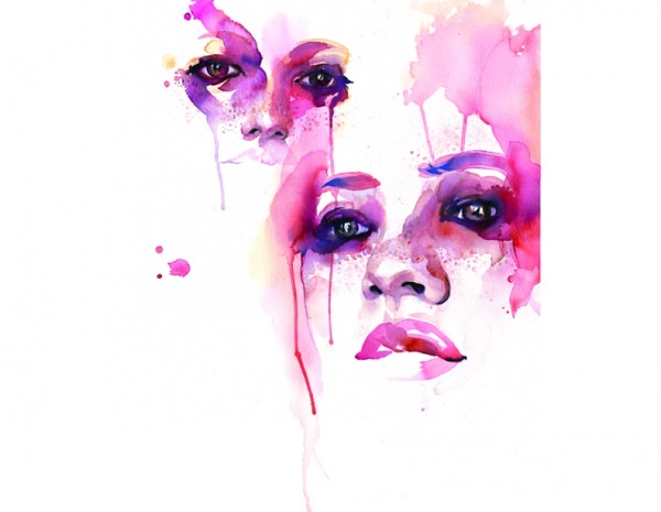 Pink Faces Water Colour Painting Art