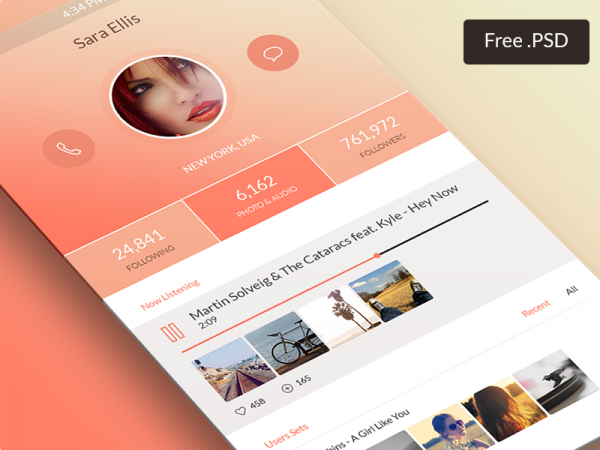 Profile Screen Free PSD