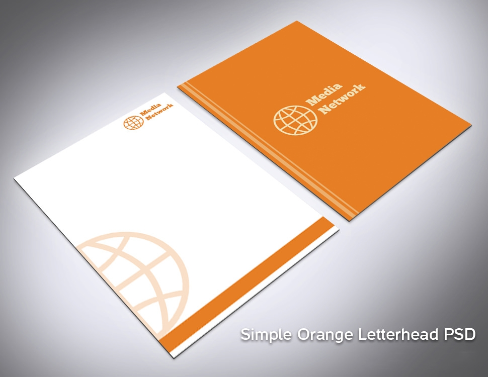 Simple-Orange-Letterhead-PSD-Preview