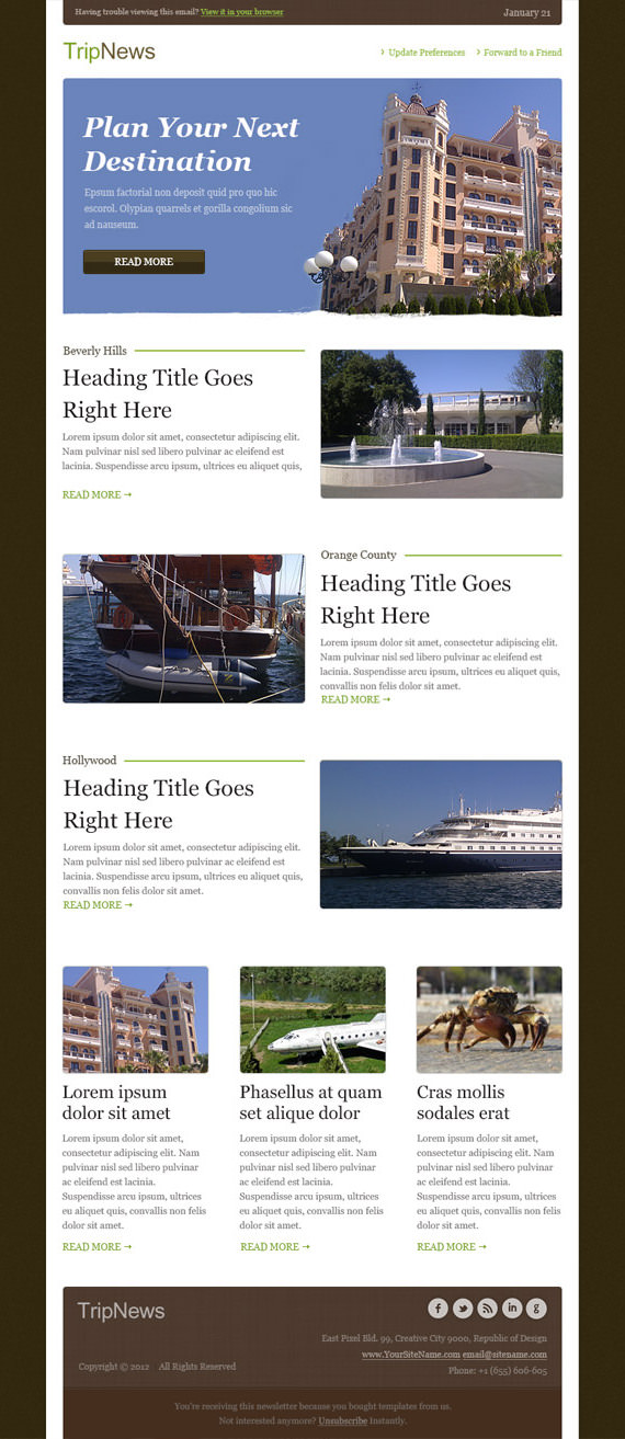 Trip News Email Newsletter Template – HTML and PSD