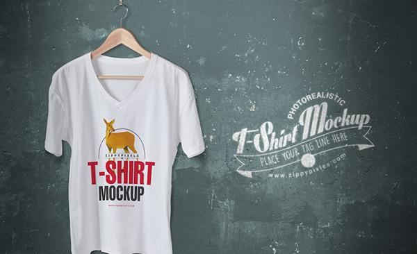 Vee-neck-tshirt-mockup