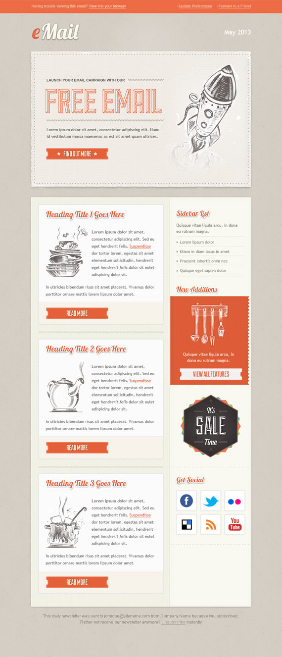 Vintage Email Newsletter Template – HTML and PSD