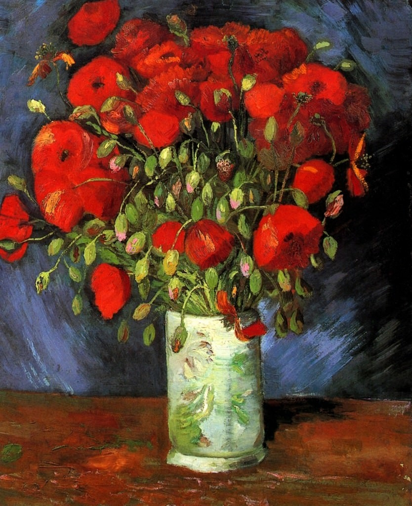 Vase with Red Poppies flower painting
