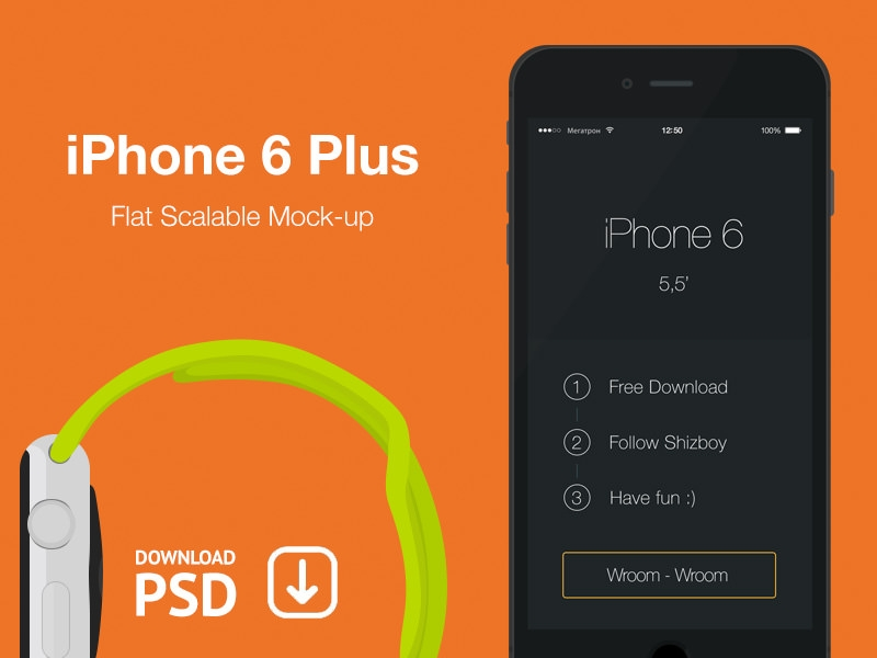 iPhone 6 Plus – Free Psd Flat Mockup