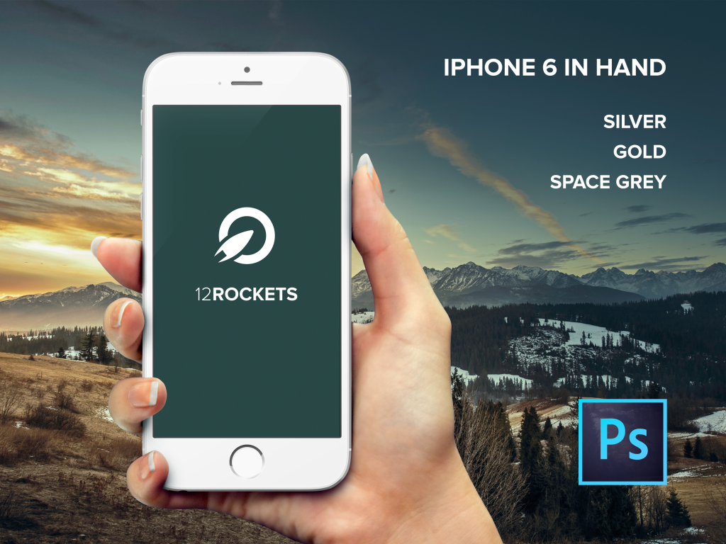 iPhone 6 in hand Free PSD mockup