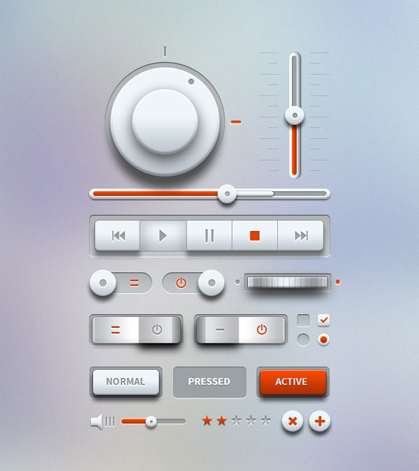 music ui elements light preview