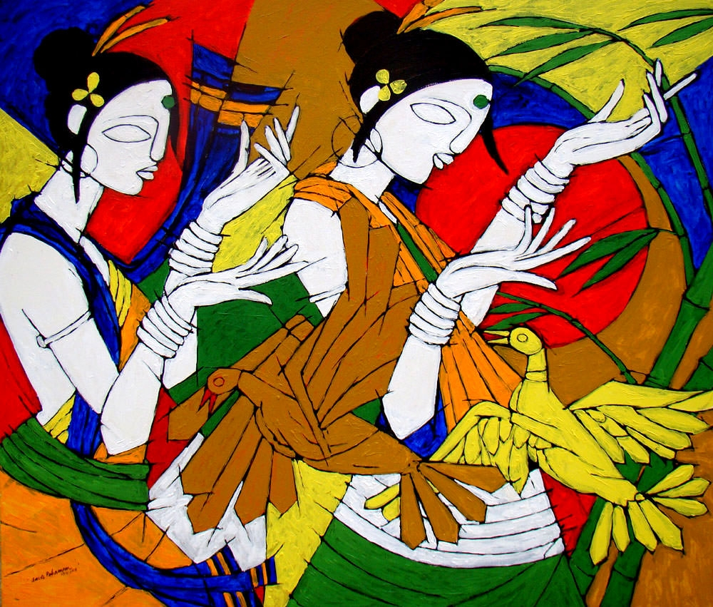 tribal-women-42X36-Inches-2011-acrylic-on-canvas-rs-gallery-selling