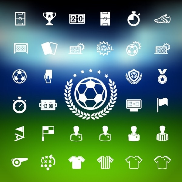 33 white footall icons