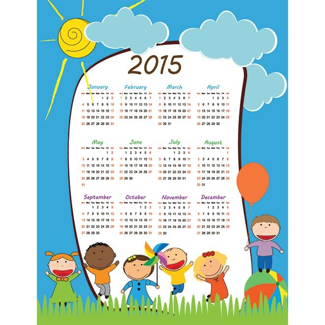 945-kids-playing-children-2015-Vector-Calendar