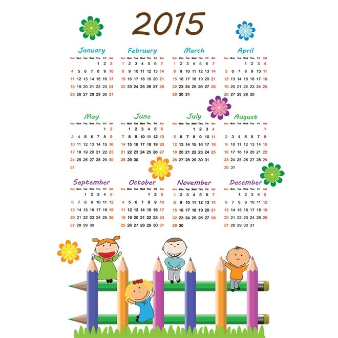 990-kids-pencil-2015-Vector-calendar