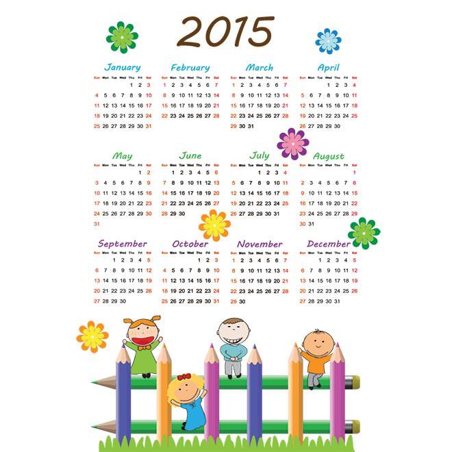 990-kids-pencil-2015-Vector-calendar