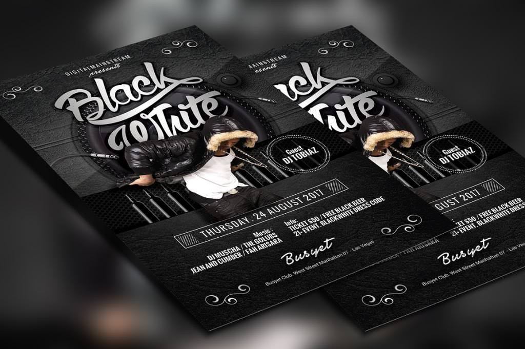 Party Flyer Designs PSD Vector EPS JPG Download - Black and white flyer template free