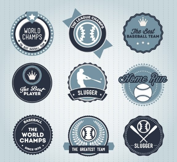 Blue-Baseball-Badge-Set-Vector