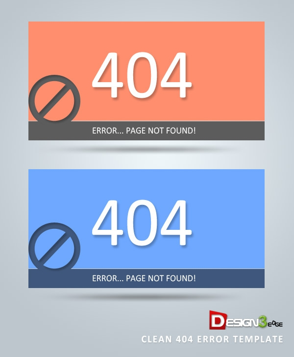 Clean 404 Error Template Design Free Download